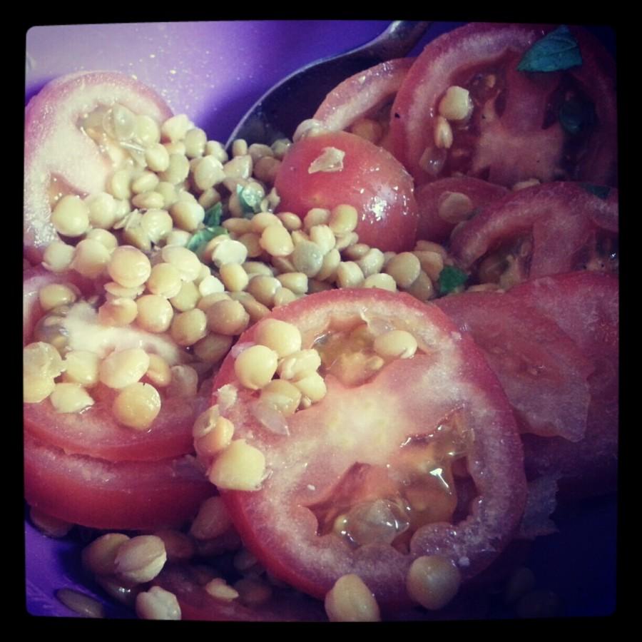 Insalata di lenticchie con basilico e limone