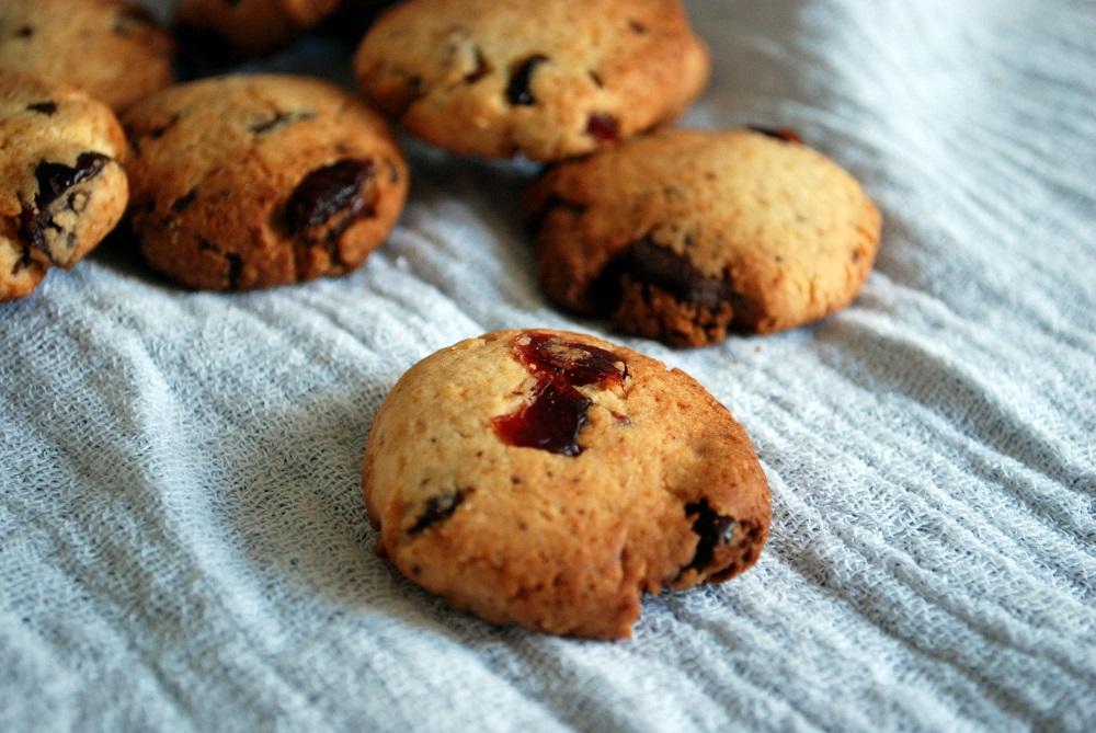 Biscotti semplici con cioccolata e frutta secca
